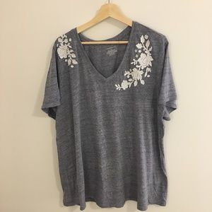 V Neck Tee by Lane Bryant with Applique